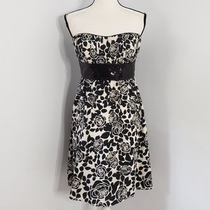 WHBM empire waist floral strapless silk dress